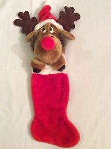 5 never used plush Xmas stockings  One with a reindeer head