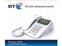 BT Decor 2500 Corded Recording Telephone With Answer Machine- In Perfect Condition