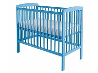 Blue cot with mattress excellent conditio