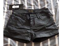 Black leather-like shorts, new, size 8