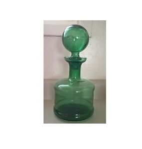 Vintage Green Glass Decanter with Round Ball Topper