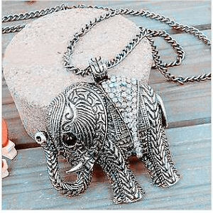 New Vintage Clear Rhinestone Lucky Elephant Pendant Long Chain Necklace