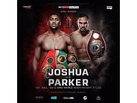 Anthony Joshua vs Joseph Parker Cardiff 31st march middle tier £120 each £240 for both