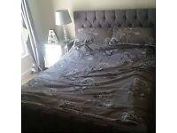 Kingsize bed frame grey chenille