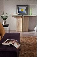 TRAVERTINE console table with glass new FOR SALE