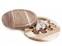 Natural Life Acacia Wood 4 Piece cheese tool set and board