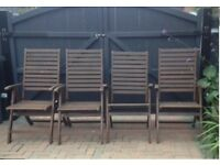 4x folding wooden large garden chairs