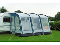 Kampa Rally 390 Caravan Awning (Blue) in great used condition with Storm Straps & Monsoon Poles