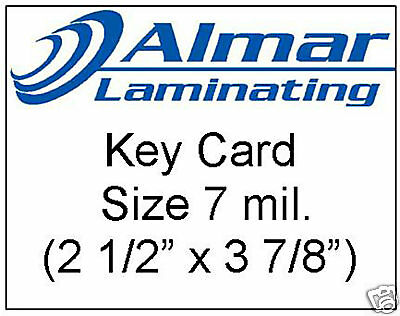 100 Key Card Size Laminating Pouches 7 Mil.