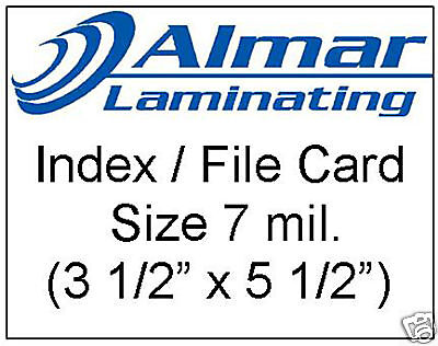 100 Index File Card Size Laminating Pouches 7 Mil.