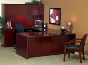 Cherry Wood Veneer U shaped Desk Suite
