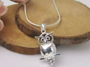 """Owl Necklace on a 21"""" Sterling Silver chain"""