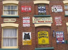 WANTED - pre 1940 old enamel or tin shop and garage advertising signs.