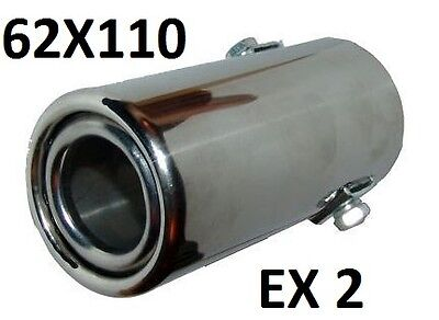 Straight Exhaust Pipe Chrome Trim Tip extension Universal 62mm x 110mm tail EX2