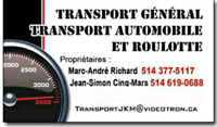 Transport roulotte et general