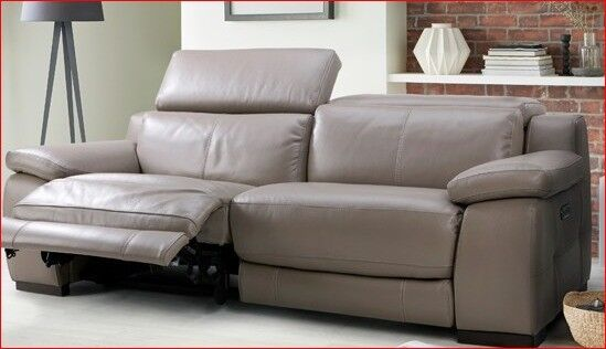 Immaculate 3 Seater Dfs Riposo Granite Leather Sofa With Recliners And Phone Charger
