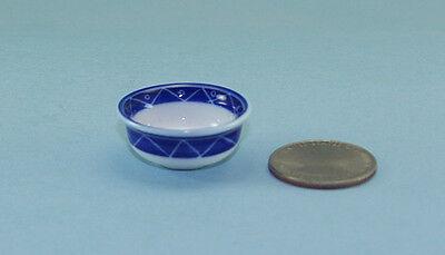 1/12 Scale Dollhouse Miniature Pretty White & Blue Porcelain Fruit Bowl #RG033
