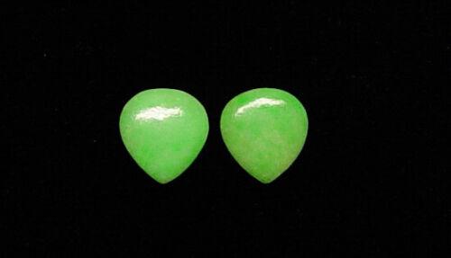 2 NATURAL APPLE GREEN GENUINE JADEITE JADE PEAR SHAPE LOOSE STONES PLEASANT PAIR