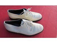 Vintage Italian, gents white patent dress shoes.
