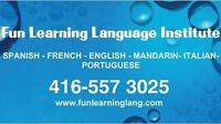SPANISH, ENGLISH, FRENCH, PORTUGUESE COURSES- FUN LEARNING LANG