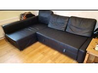 Black Leather Corner Sofa bed. Excellent condition.Only £340. *Free Delivery & Free Assembly*