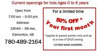 Daycare: 50% Off your first month for kids 0 - 6 years
