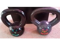 Two kettlebells