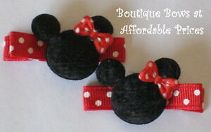 2-Baby-Toddler-Girl-Boutique-Hair-Clip-Bow-MINNIE-MOUSE