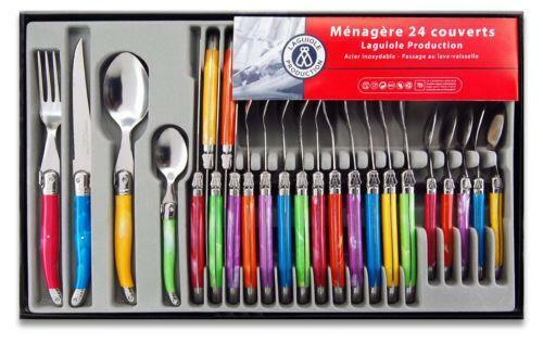 Colored flatware sets ebay - Flatware colored handles ...