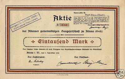 Altenaer Gemeinnützige Baugesellschaft Altena histor. Aktie 1919 Sauerland NRW