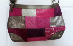 New Coach Patchwork Multi Pink/Silver/Purple Large Hobo Shoulder