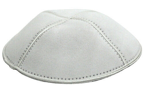 White Jewish Kippah - Suede Leather