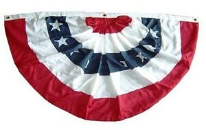 3x6 FT Double Sided Outdoor Poly/Cotton US Made American Flag Bunting Half Fan