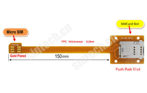Micro SIM to SIM Card Extender extension adapter with 15cm cable for mobilephone