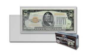 100 BCW Deluxe Vinyl Semi-Rigid Currency Holders SMALL MODERN REGULAR BILL SIZE