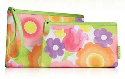 - CLINIQUE Floral Print Cosmetic Makeup Bag Set  Zipper Pouch (1 Large + 1 Small )