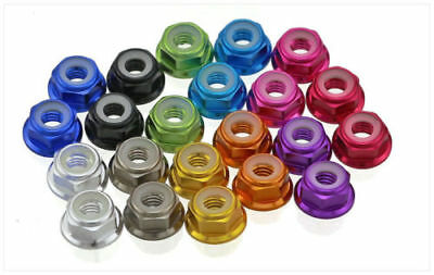 (M3 3mm Aluminum Flanged Nylon Lock Nut X 10 Black Purple Blue Red Pink Green)