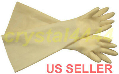 Industrial Shoulder Length Latex Rubber Gloves Long Cuff 24 Acid Resistant