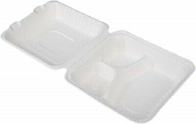 Disposable Clamshell Container 8 3 Compartment Bagasse Takeout 100pcs