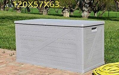 Cassapanca baule multiuso 120X57X63 RESINA TORTORA giardino esterno contenitore