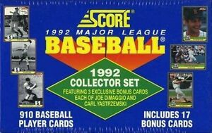 1992 SCORE BASEBALL COMPLETE FACTORY SEALED 910 COLLECTOR SET
