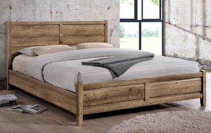 QUEEN BED Alice Bed Queen Oak Colour NEW NEVER USED.