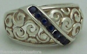 BEAUTIFUL-ESTATE-SAPPHIRE-STERLING-SILVER-SCROLL-BAND-RING-SIZE-6