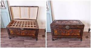 Large Antique Camphor Wooden Chest Blanket Box with Tray Hurlstone Park Canterbury Area Preview