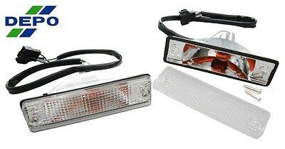 86-93 Mazda Pick Up Truck B2200 Clear Bumper Turn Signal Light PAIR