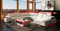 Contemporary White leather sectional