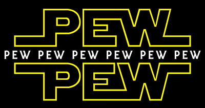 "Pew Pew Pew 6/""x3.5/"" Vehicle Guitar Case Star Wars Sticker Laptop"
