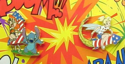 TOONTOWN FIREWORKS FACTORY Disney Pin  LE 150 TINKERBELL  /  LE 500 STITCH
