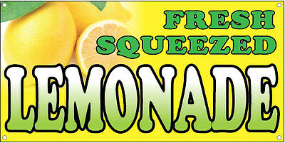 FRESH SQUEEZED LEMONADE Vinyl Banner Sign Concession Food Drink 2X4 ft - yb