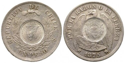 GUATEMALA 1/2 REAL 1894 COUNTERMARK ON FRONT AND BACK ON A CHILE PESO 1875